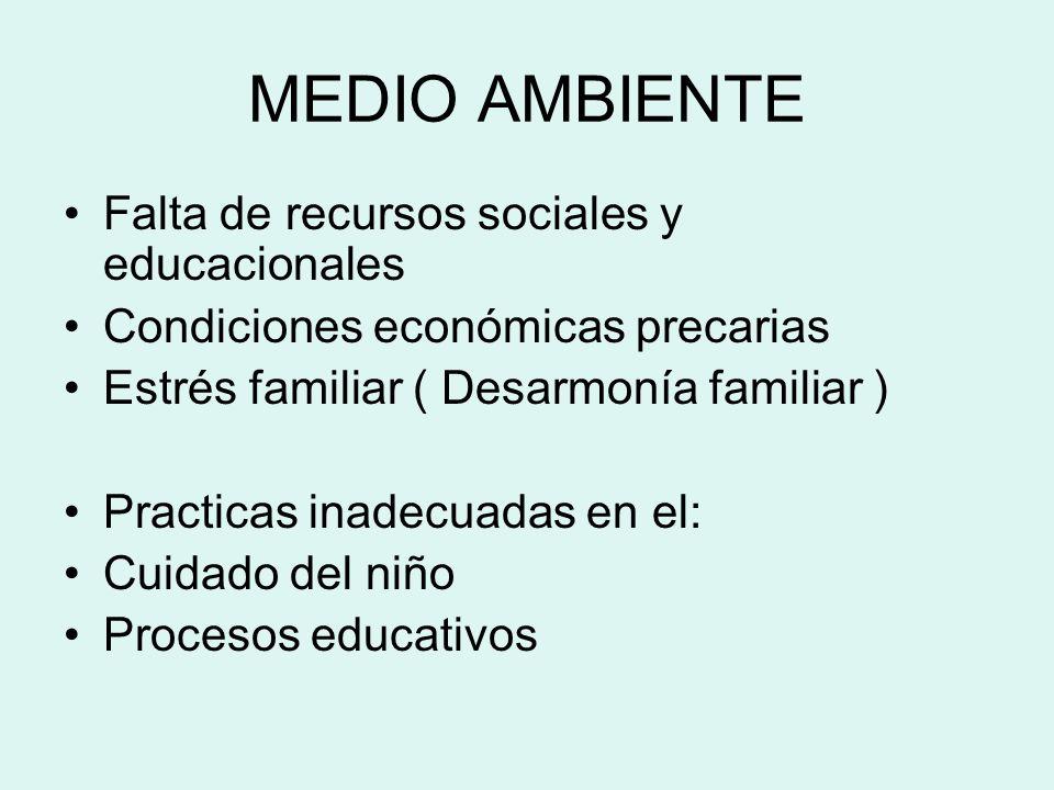 MEDIO AMBIENTE Falta de recursos sociales y educacionales