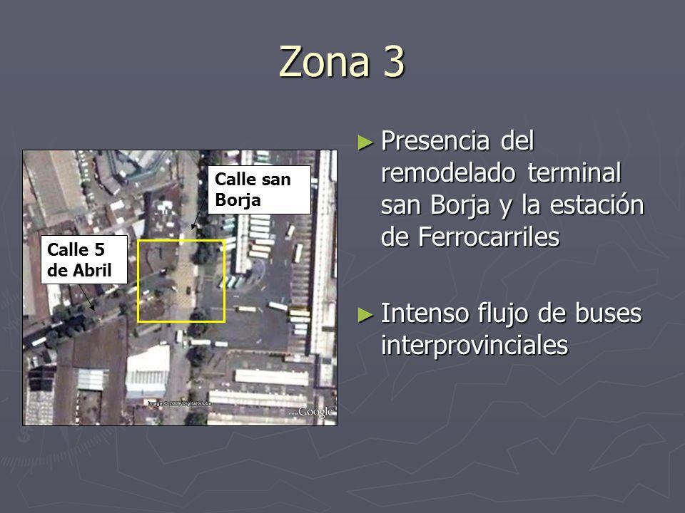 Zona 3Presencia del remodelado terminal san Borja y la estación de Ferrocarriles. Intenso flujo de buses interprovinciales.