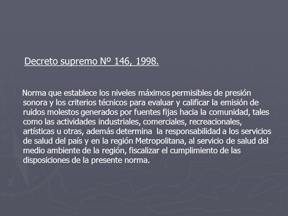 Decreto supremo Nº 146, 1998.