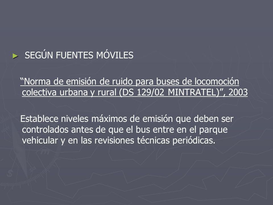 SEGÚN FUENTES MÓVILES Norma de emisión de ruido para buses de locomoción colectiva urbana y rural (DS 129/02 MINTRATEL) , 2003.