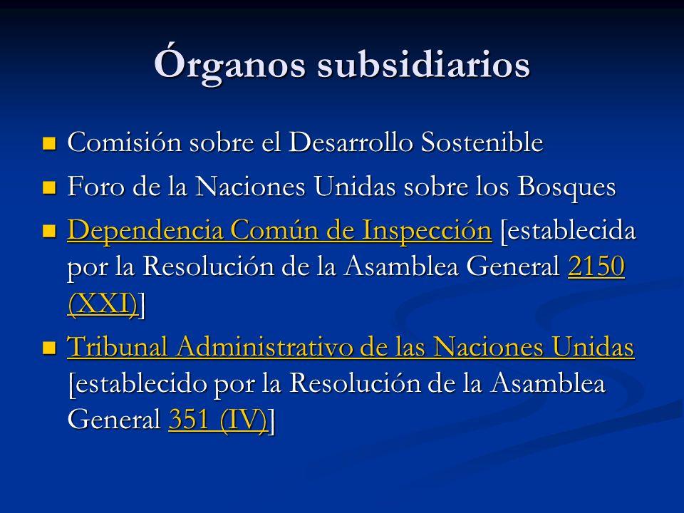 Órganos subsidiarios Comisión sobre el Desarrollo Sostenible