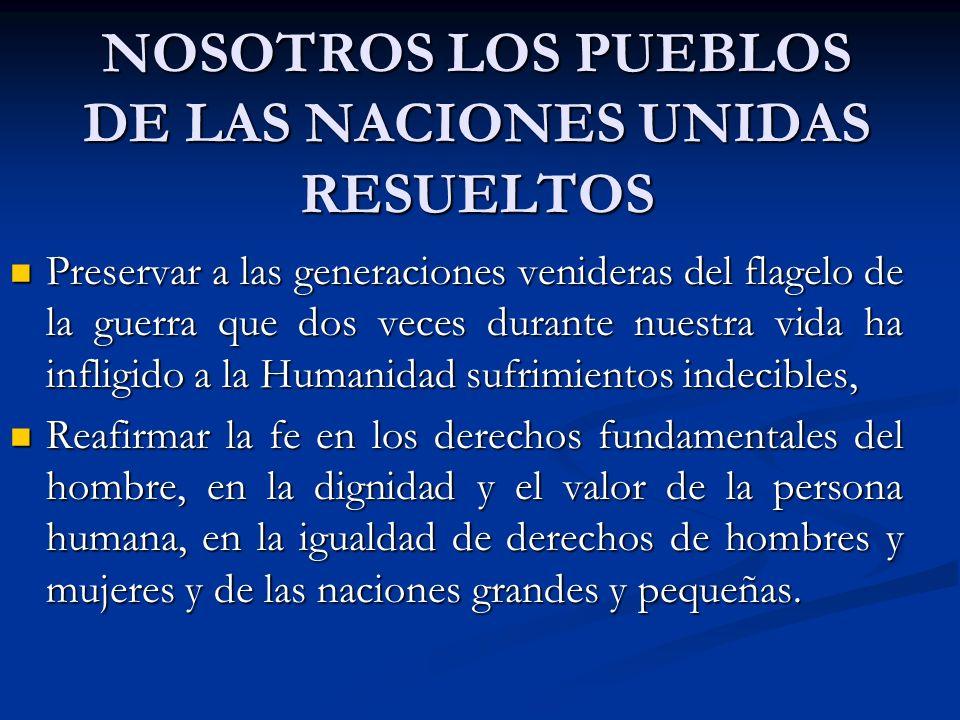 NOSOTROS LOS PUEBLOS DE LAS NACIONES UNIDAS RESUELTOS