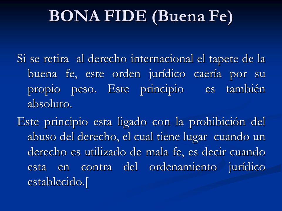 BONA FIDE (Buena Fe)