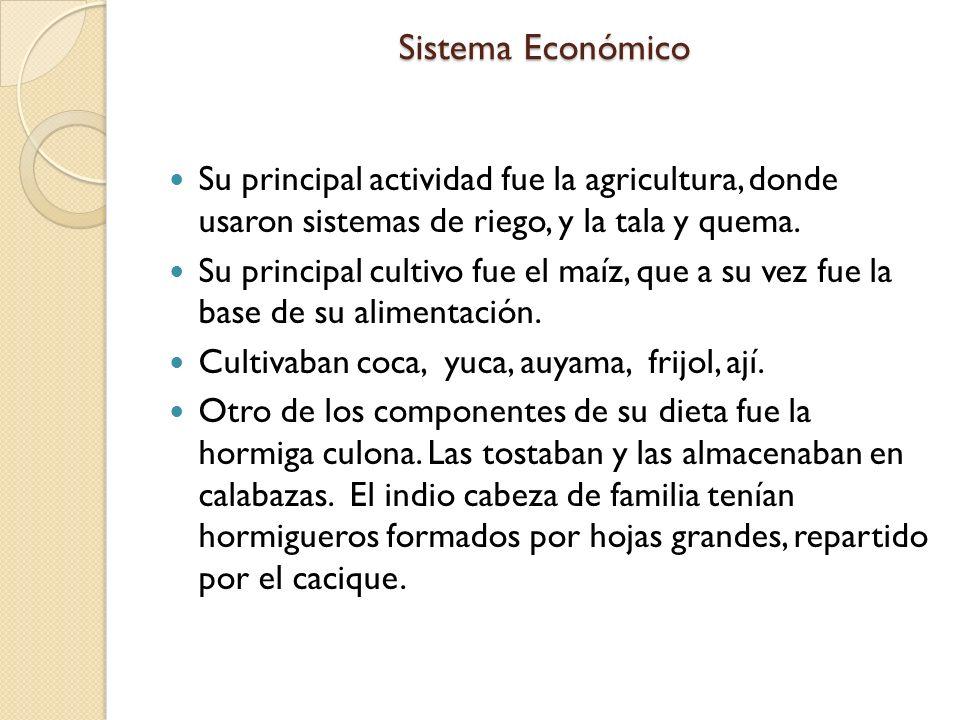 Sistema Económico Su principal actividad fue la agricultura, donde usaron sistemas de riego, y la tala y quema.