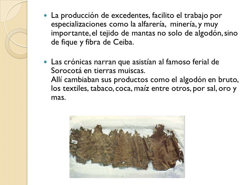 La producción de excedentes, facilito el trabajo por especializaciones como la alfarería, minería, y muy importante, el tejido de mantas no solo de algodón, sino de fique y fibra de Ceiba.