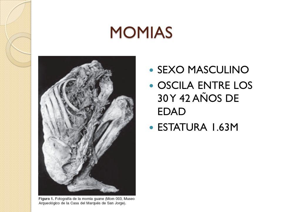 MOMIAS SEXO MASCULINO OSCILA ENTRE LOS 30 Y 42 AÑOS DE EDAD