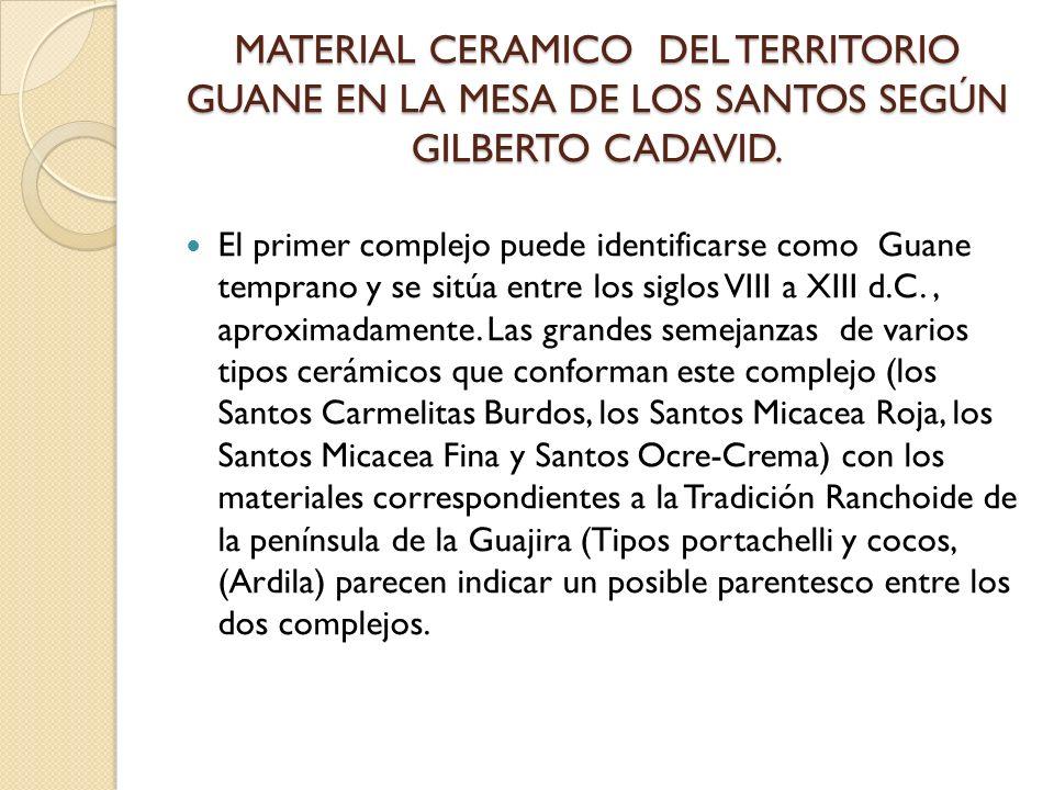 MATERIAL CERAMICO DEL TERRITORIO GUANE EN LA MESA DE LOS SANTOS SEGÚN GILBERTO CADAVID.