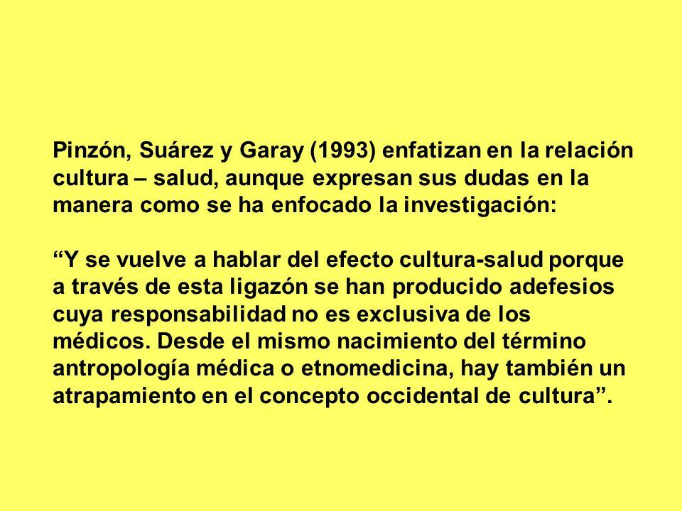 Pinzón, Suárez y Garay (1993) enfatizan en la relación cultura – salud, aunque expresan sus dudas en la manera como se ha enfocado la investigación: