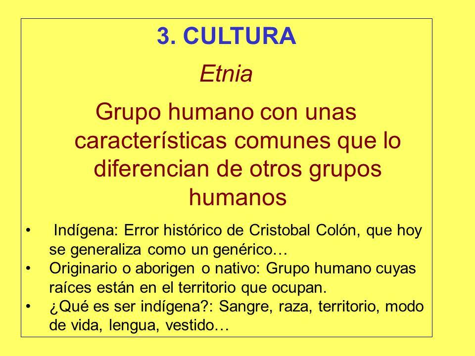 3. CULTURA Etnia. Grupo humano con unas características comunes que lo diferencian de otros grupos humanos.