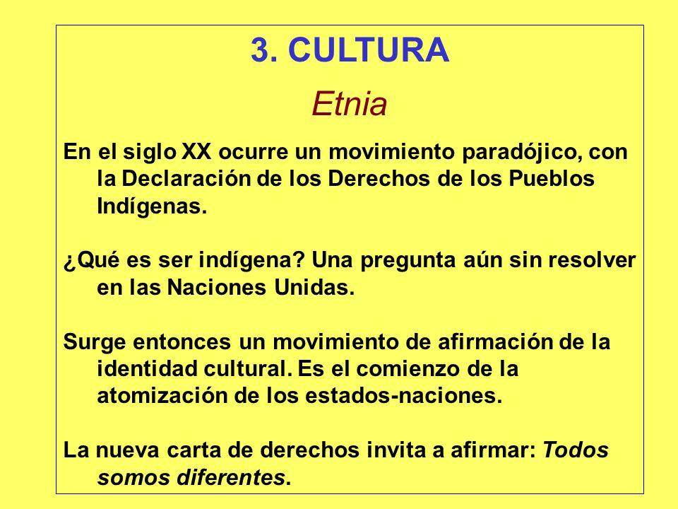 3. CULTURA Etnia. En el siglo XX ocurre un movimiento paradójico, con la Declaración de los Derechos de los Pueblos Indígenas.