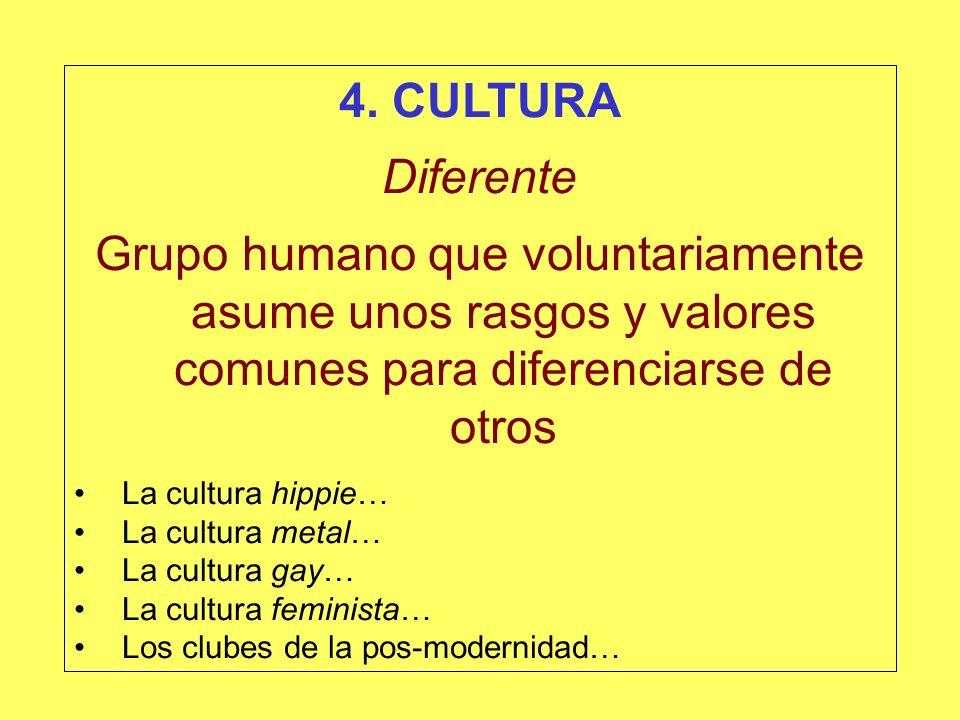 4. CULTURA Diferente. Grupo humano que voluntariamente asume unos rasgos y valores comunes para diferenciarse de otros.