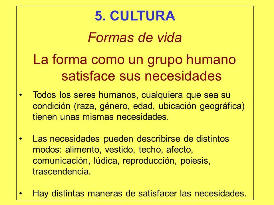 La forma como un grupo humano satisface sus necesidades