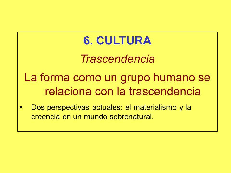 La forma como un grupo humano se relaciona con la trascendencia