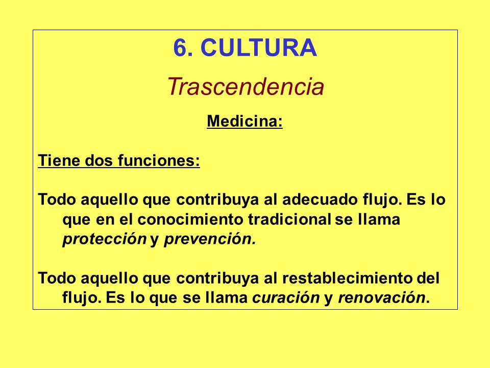 6. CULTURA Trascendencia Medicina: Tiene dos funciones:
