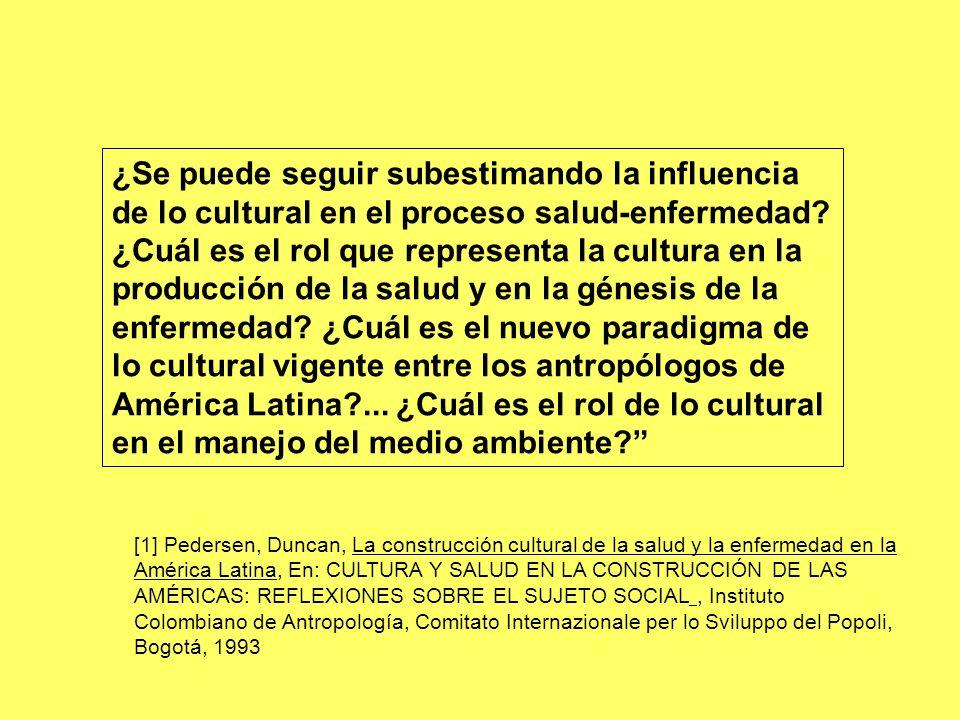 ¿Se puede seguir subestimando la influencia de lo cultural en el proceso salud-enfermedad ¿Cuál es el rol que representa la cultura en la producción de la salud y en la génesis de la enfermedad ¿Cuál es el nuevo paradigma de lo cultural vigente entre los antropólogos de América Latina ... ¿Cuál es el rol de lo cultural en el manejo del medio ambiente