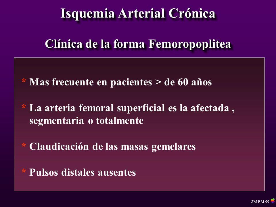 Isquemia Arterial Crónica Clínica de la forma Femoropoplitea