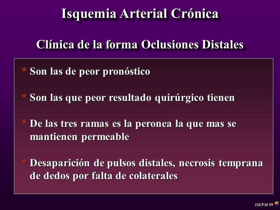 Isquemia Arterial Crónica Clínica de la forma Oclusiones Distales