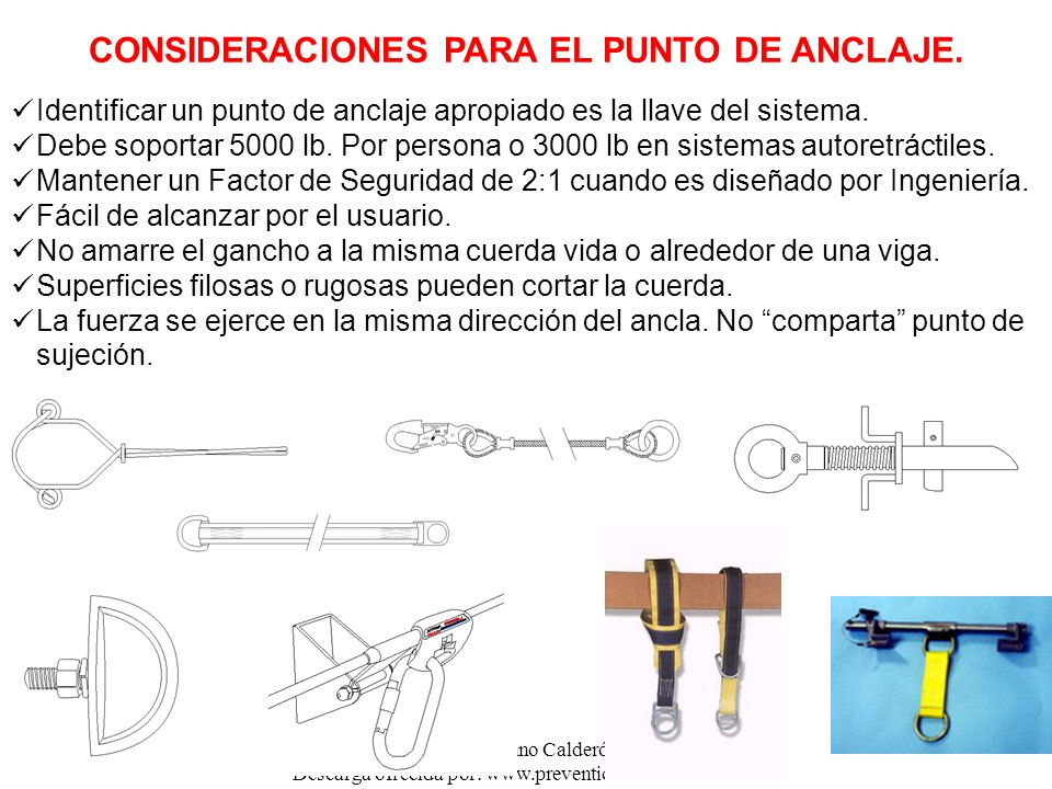 CONSIDERACIONES PARA EL PUNTO DE ANCLAJE.