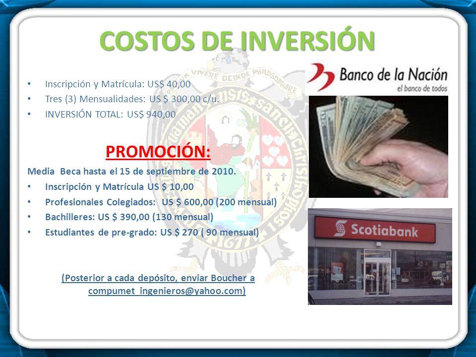 COSTOS DE INVERSIÓN PROMOCIÓN: Inscripción y Matrícula: US$ 40,00