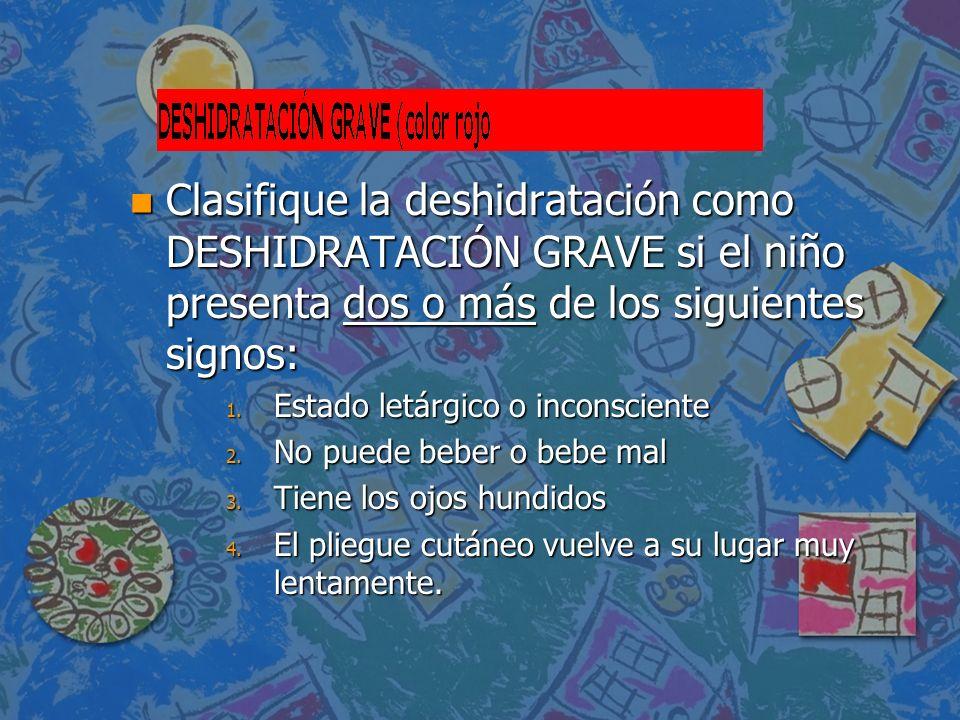 Clasifique la deshidratación como DESHIDRATACIÓN GRAVE si el niño presenta dos o más de los siguientes signos: