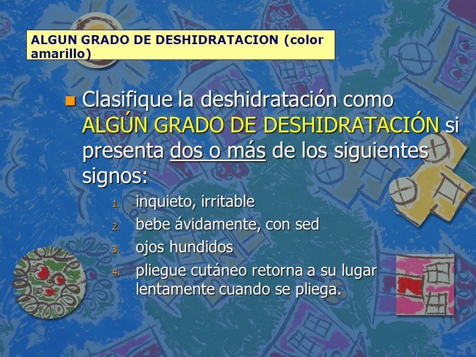ALGUN GRADO DE DESHIDRATACION (color amarillo)