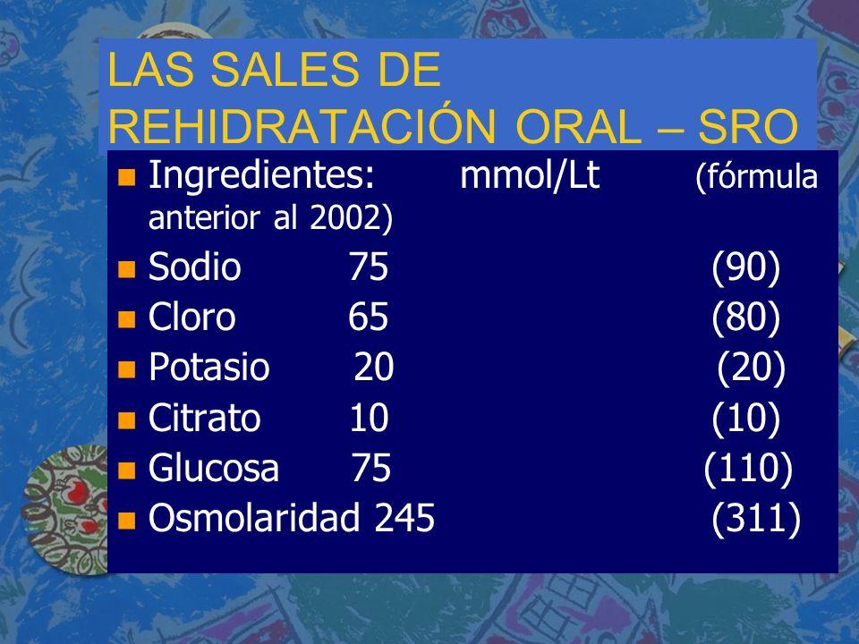 LAS SALES DE REHIDRATACIÓN ORAL – SRO