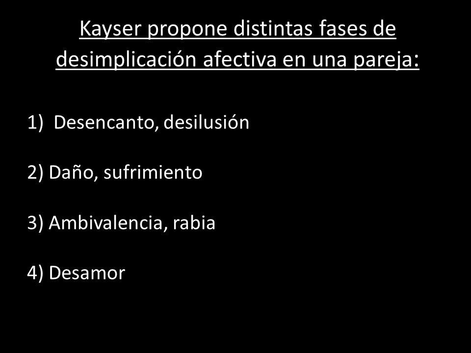 Kayser propone distintas fases de desimplicación afectiva en una pareja: