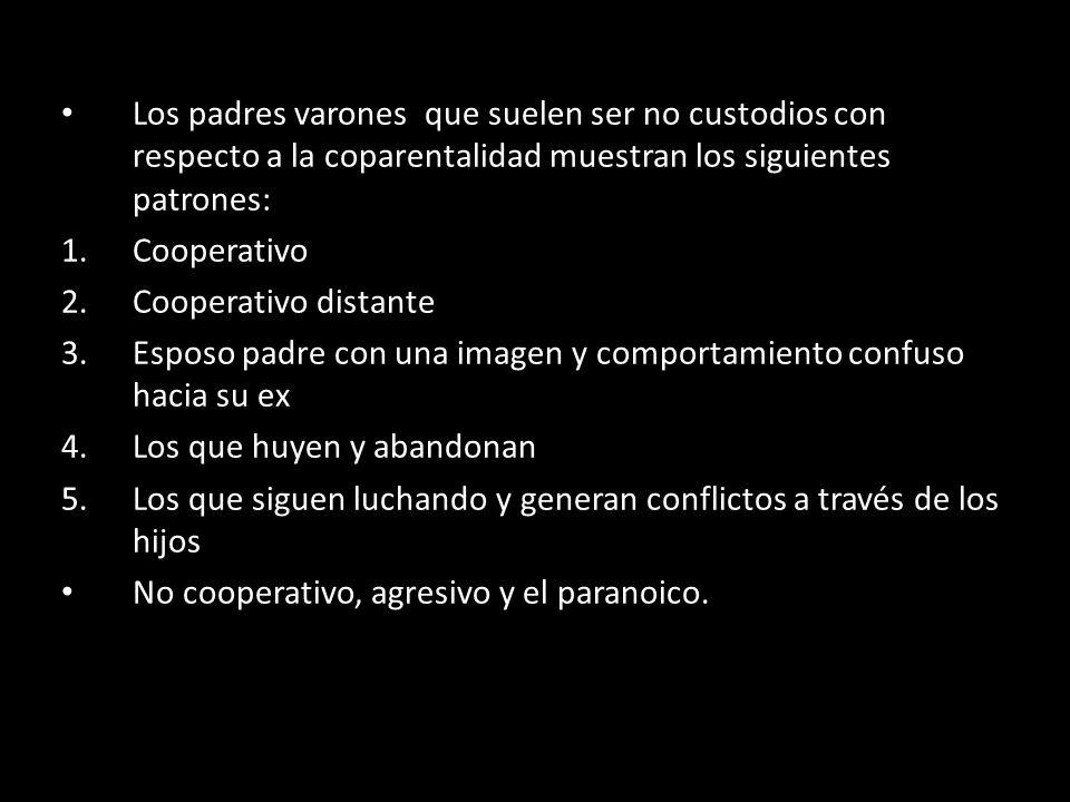 Los padres varones que suelen ser no custodios con respecto a la coparentalidad muestran los siguientes patrones: