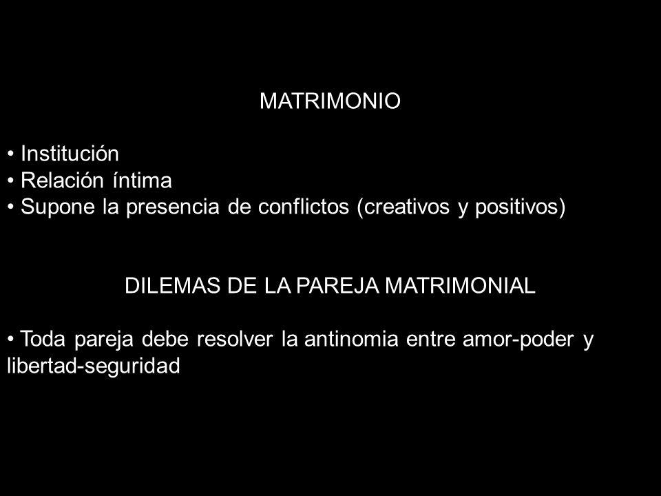 DILEMAS DE LA PAREJA MATRIMONIAL