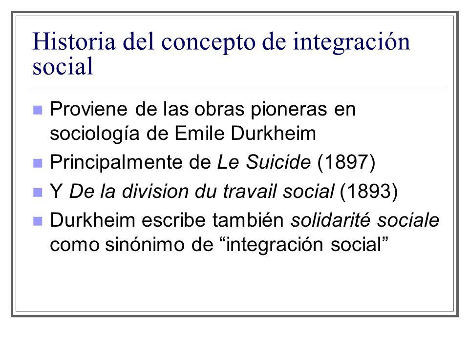 Historia del concepto de integración social