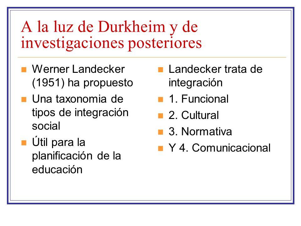 A la luz de Durkheim y de investigaciones posteriores