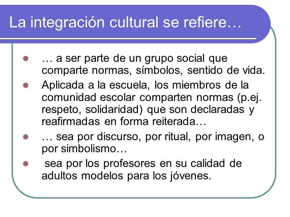 La integración cultural se refiere…