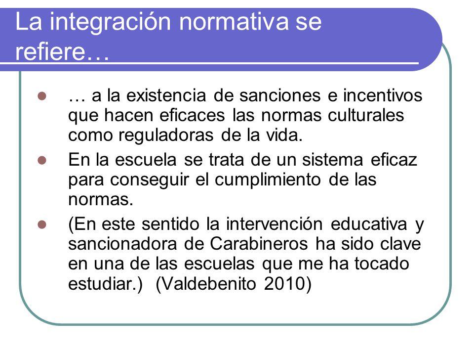 La integración normativa se refiere…