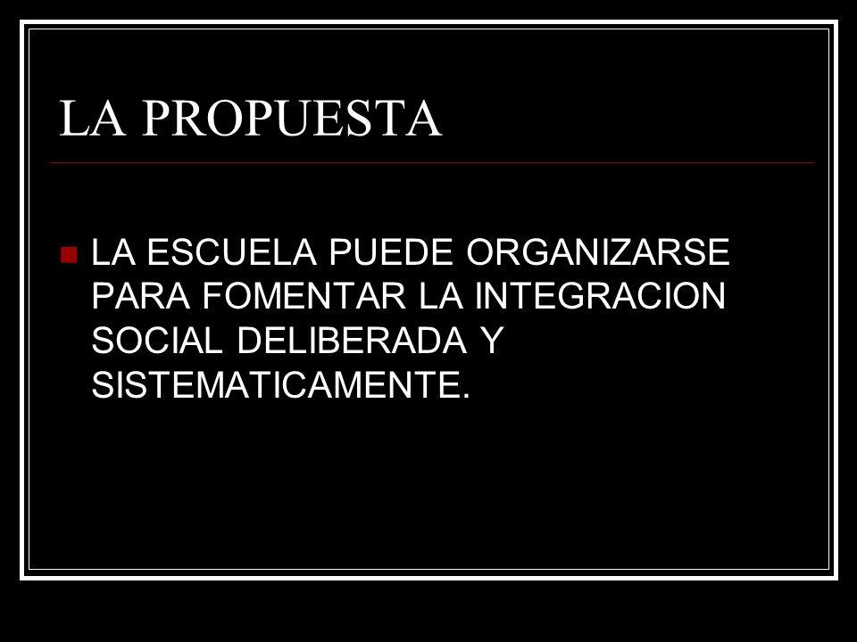 LA PROPUESTALA ESCUELA PUEDE ORGANIZARSE PARA FOMENTAR LA INTEGRACION SOCIAL DELIBERADA Y SISTEMATICAMENTE.
