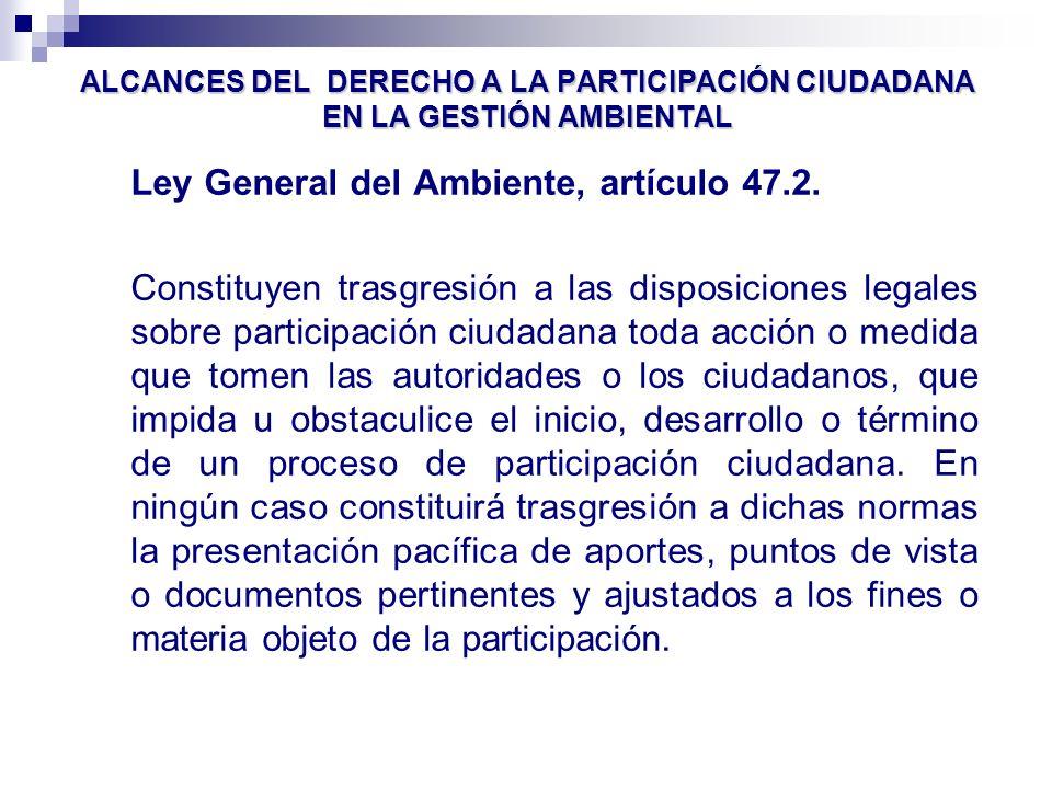 Ley General del Ambiente, artículo 47.2.