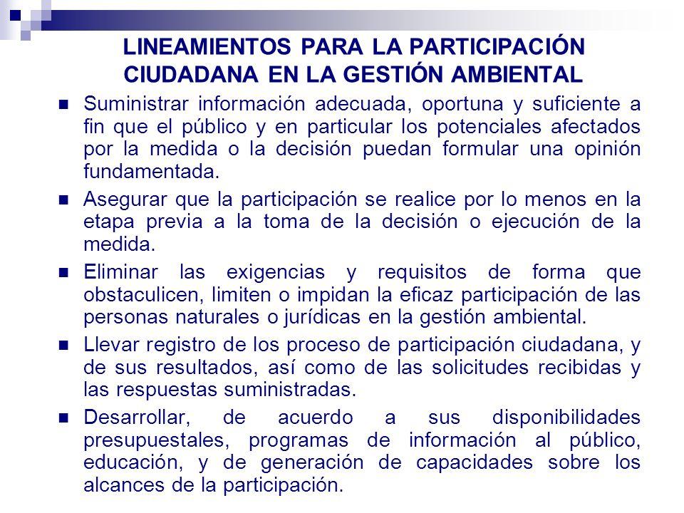 LINEAMIENTOS PARA LA PARTICIPACIÓN CIUDADANA EN LA GESTIÓN AMBIENTAL