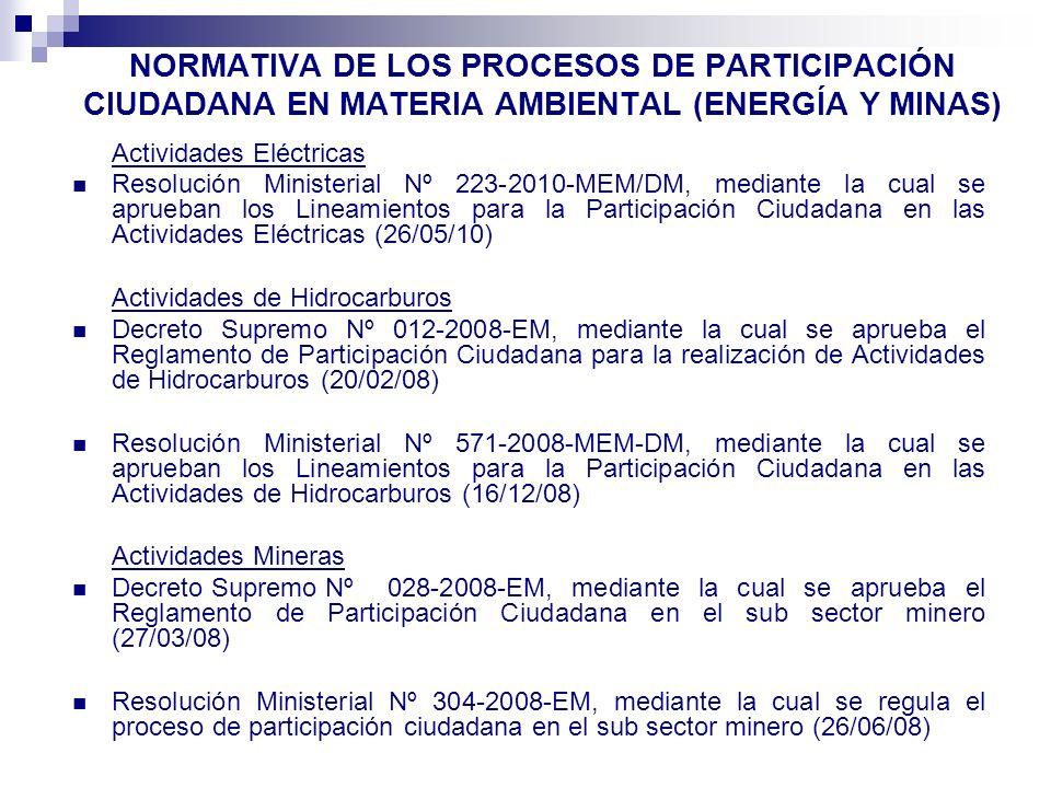 NORMATIVA DE LOS PROCESOS DE PARTICIPACIÓN CIUDADANA EN MATERIA AMBIENTAL (ENERGÍA Y MINAS)