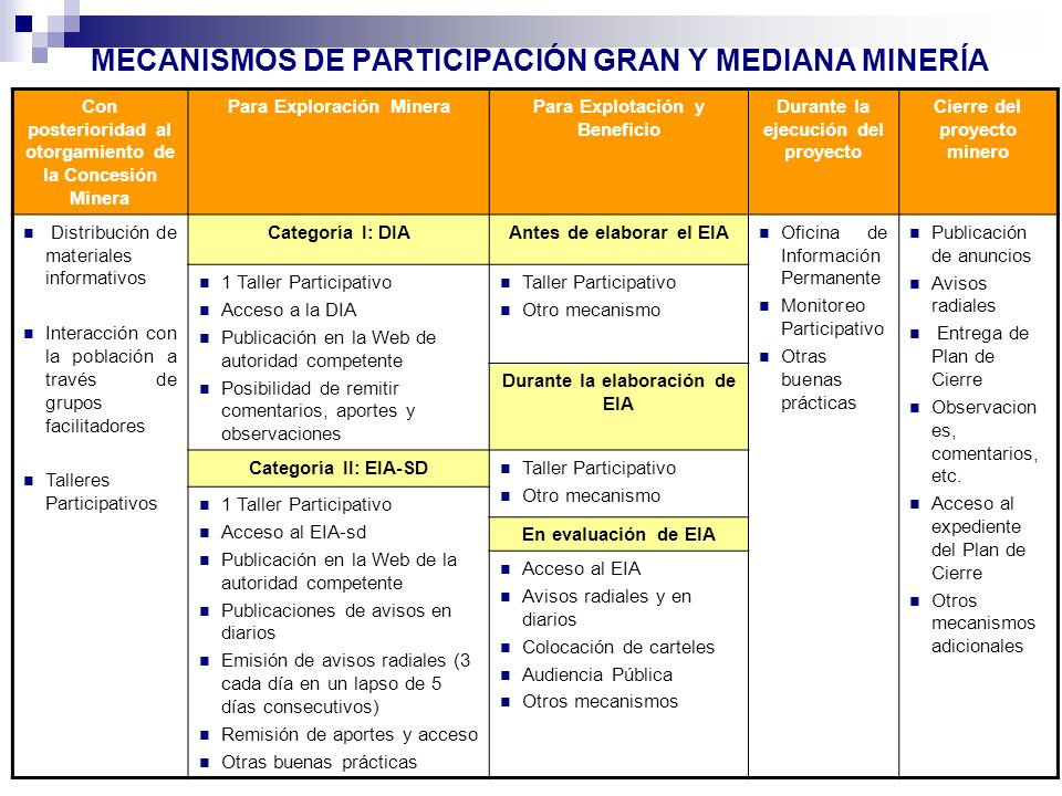 MECANISMOS DE PARTICIPACIÓN GRAN Y MEDIANA MINERÍA