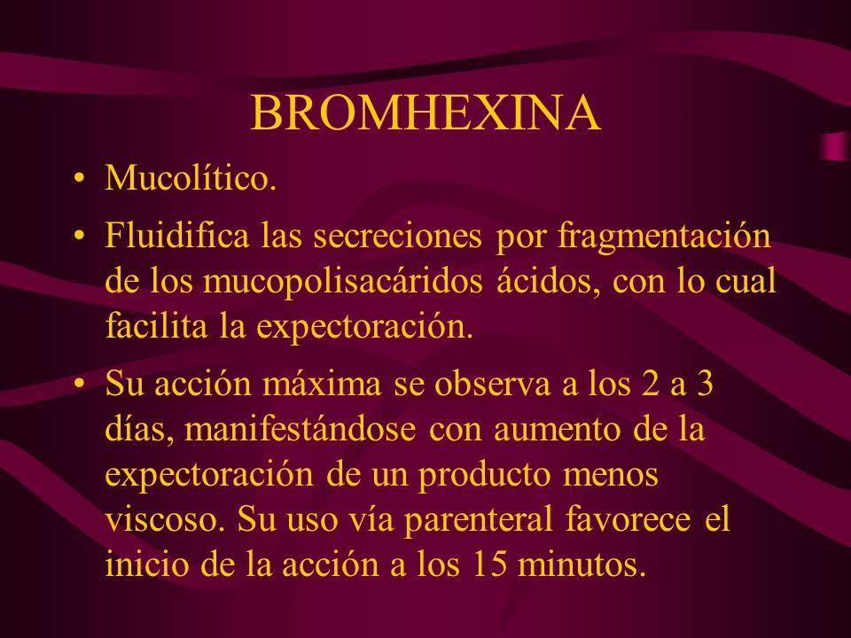 BROMHEXINA Mucolítico.