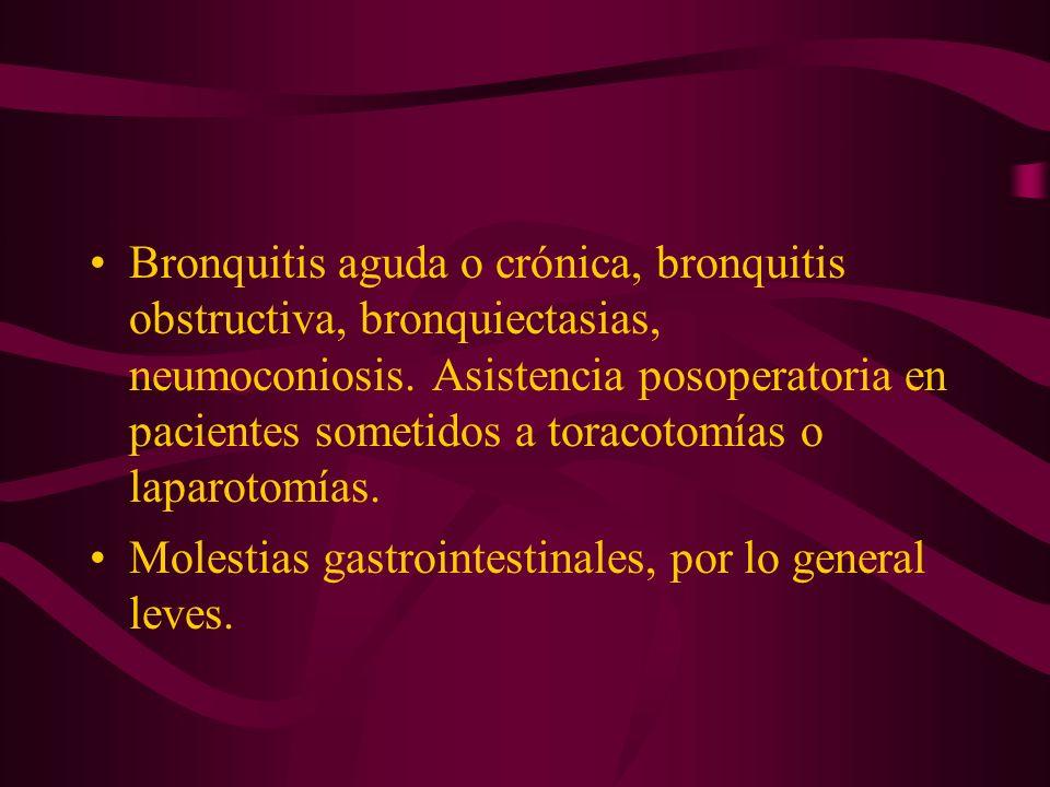 Bronquitis aguda o crónica, bronquitis obstructiva, bronquiectasias, neumoconiosis. Asistencia posoperatoria en pacientes sometidos a toracotomías o laparotomías.