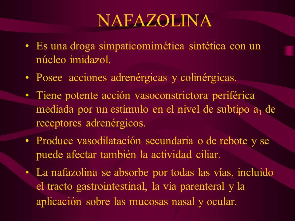 NAFAZOLINA Es una droga simpaticomimética sintética con un núcleo imidazol. Posee acciones adrenérgicas y colinérgicas.