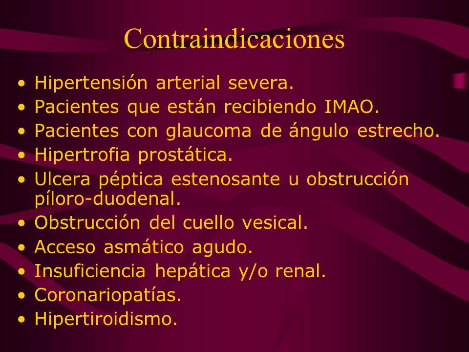 Contraindicaciones Hipertensión arterial severa.