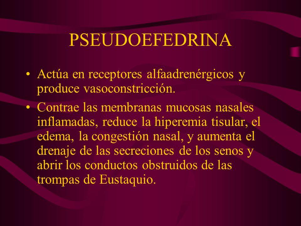 PSEUDOEFEDRINA Actúa en receptores alfaadrenérgicos y produce vasoconstricción.