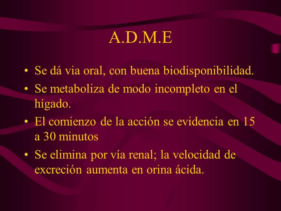 A.D.M.E Se dá via oral, con buena biodisponibilidad.
