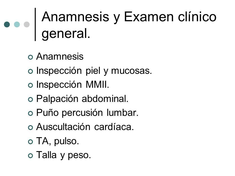 Anamnesis y Examen clínico general.