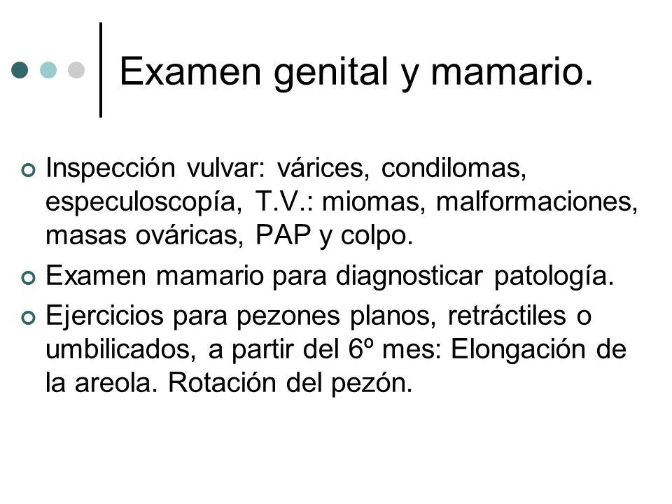 Examen genital y mamario.