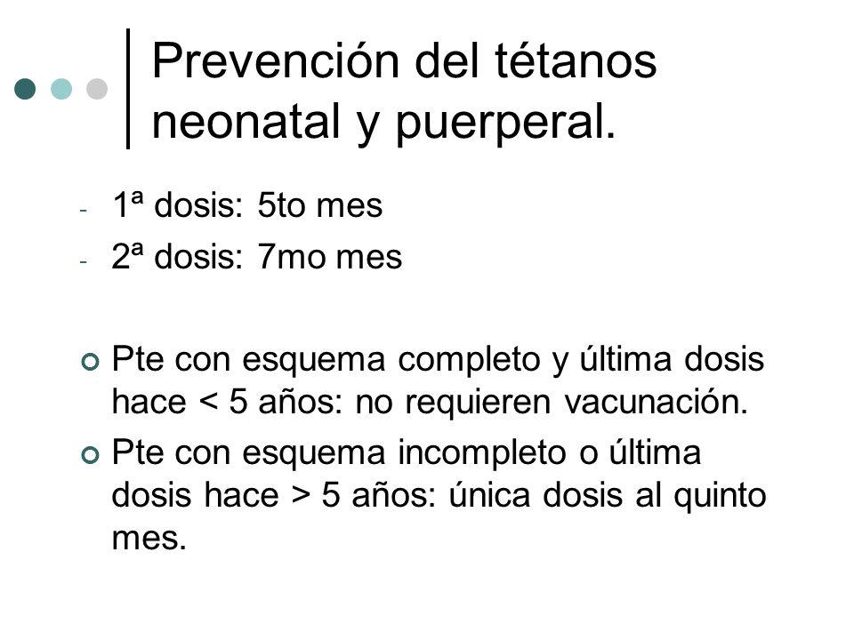 Prevención del tétanos neonatal y puerperal.