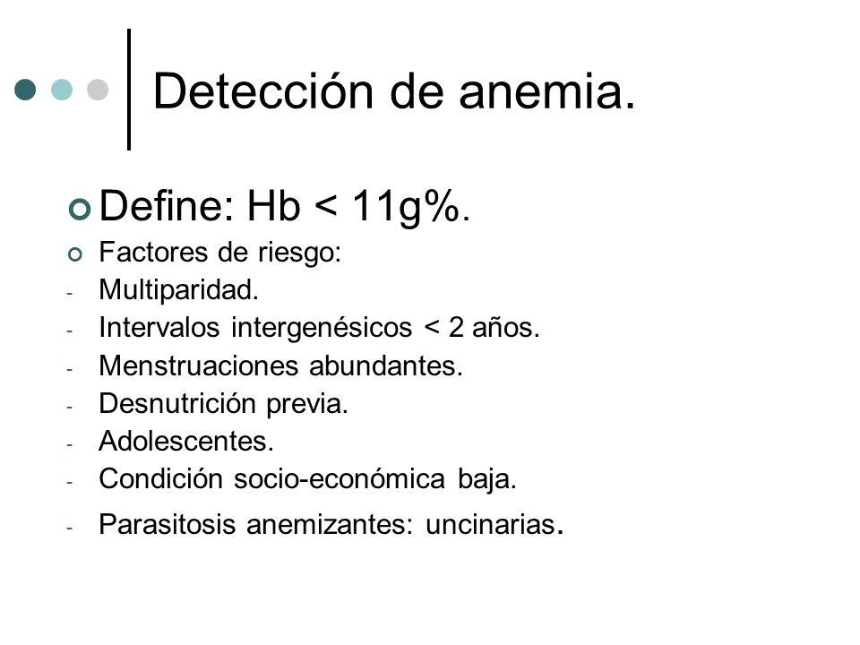 Detección de anemia. Define: Hb < 11g%. Factores de riesgo: