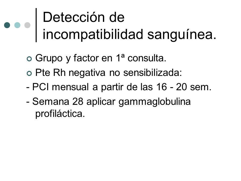 Detección de incompatibilidad sanguínea.