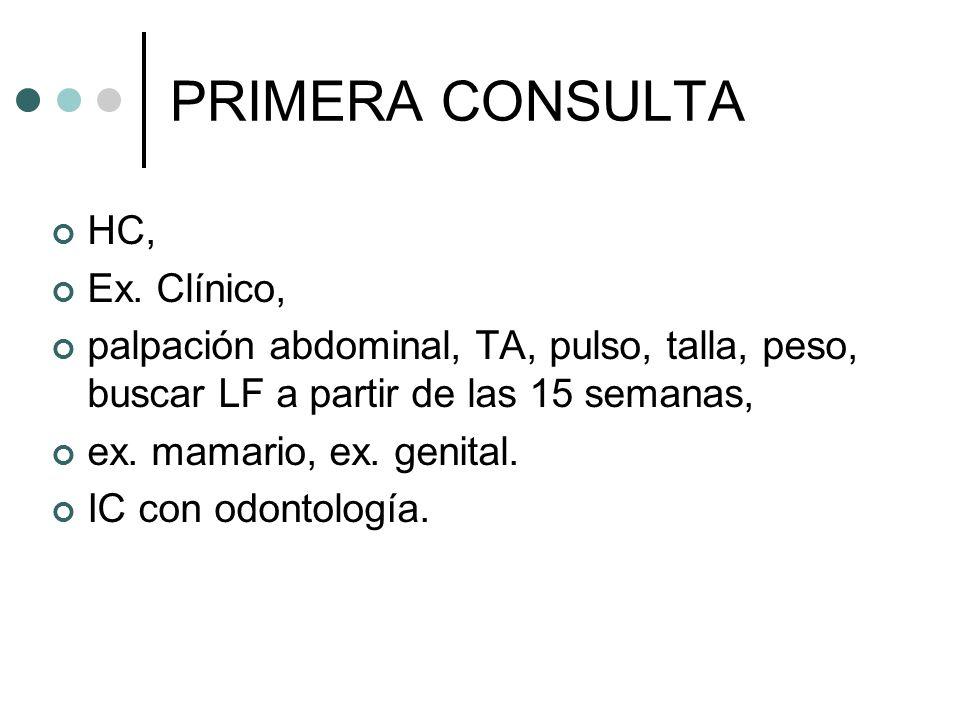 PRIMERA CONSULTA HC, Ex. Clínico,